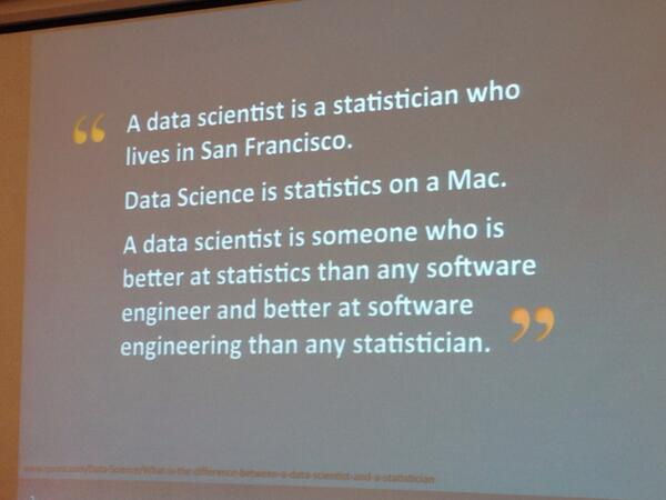 Data science according to #monkigras /cc @ianhuston @noellesio @cumulyst (via cloudera guy tongue-in-cheek) http://t.co/YjB8yES9gn