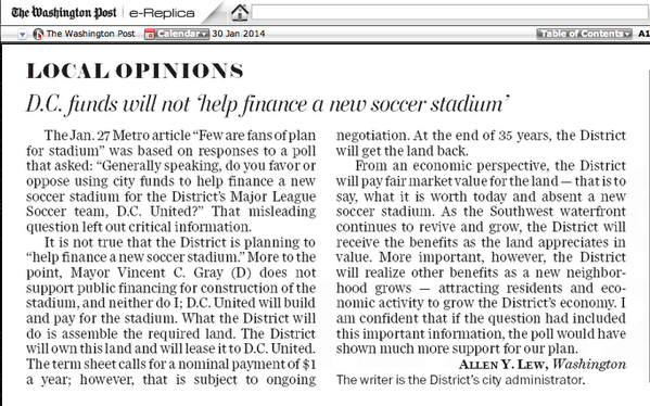 You may have to dig to find it, but Allen Lew responds to The Post in today's paper. #DCU http://t.co/6XS215mx2g