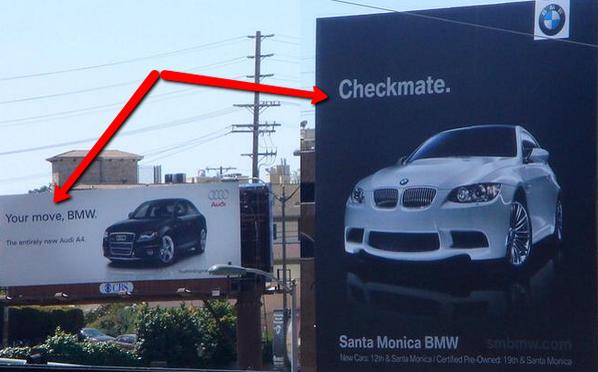 Una publicidad de AUDI, con respuesta de BMW... http://t.co/nyJ28rV08G