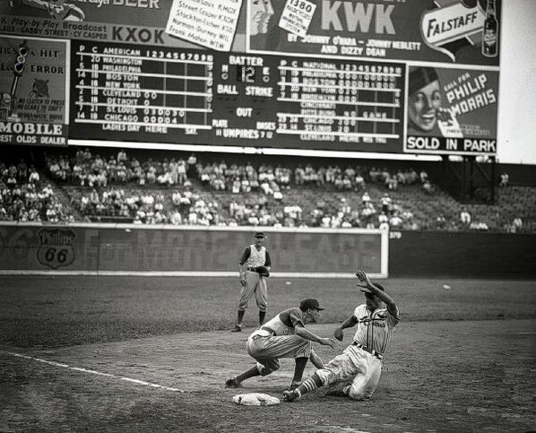 Stan Musial At Sportsman S Park In St Louis As He Slides