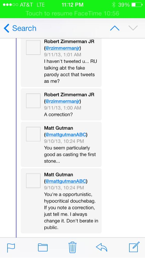 ABC's Matt Gutman calls Robert Zimmerman Jr douchebag after falling for parody Twitter account post