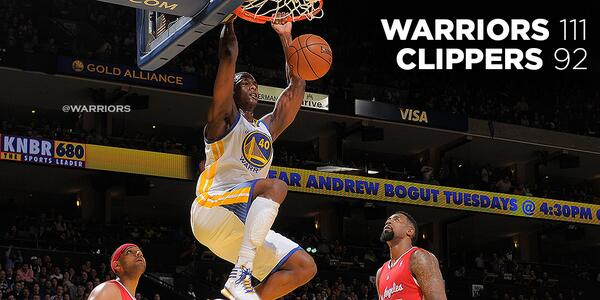 FINAL: Warriors 111 - Clippers 92. BOX: http://t.co/n6WWxcwT06 http://t.co/Xs8phlsoP4