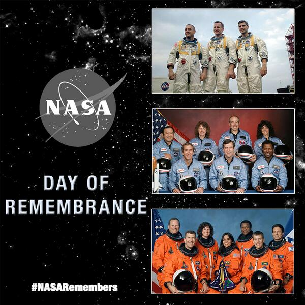 Today #NASARemembers the Apollo 1, Challenger & Columbia crews & other NASA colleagues http://t.co/nCEtRnB8Fd http://t.co/zvEnJO0RJ2