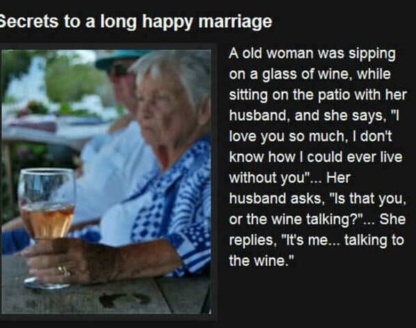 Secrets to a long and happy marriage! #wine #winelover <br>http://pic.twitter.com/yEuZV6iu6j