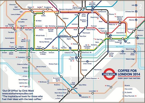 """@snarkle: Coffee fans! This is the only tube map you need of London. Stations named by the best coffee shop nearby. http://t.co/JCJbcjCC7O"""