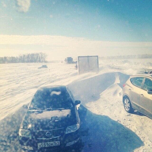 М4 ДОН Краснодар Ростов зима снег метель