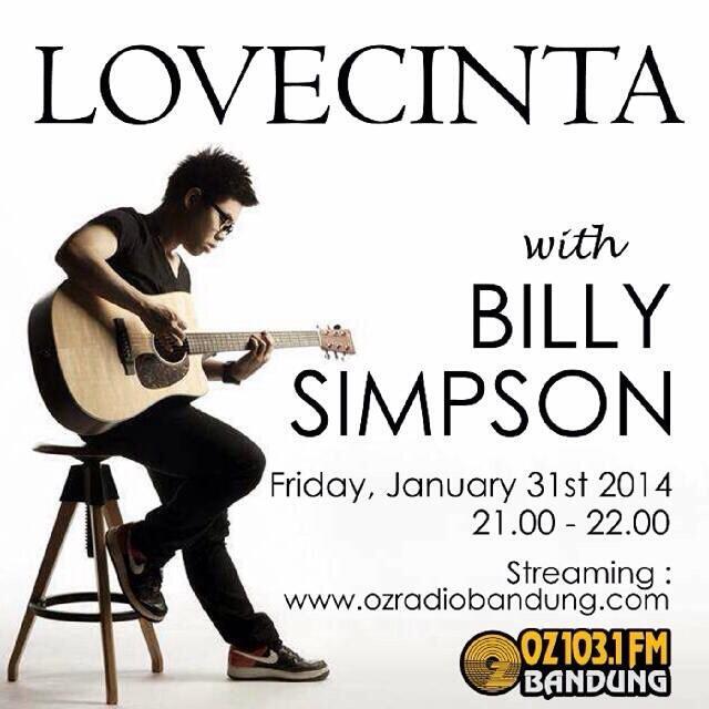 Malam ini @BillySimpson akan LIVE di @ozradiobandung. Billyvers di Bandung dateng yuk ;) http://t.co/nvwuaspGza