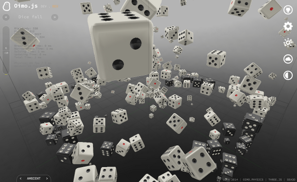 oimo.js, a lightweight 3D physics engine in JavaScript. http://t.co/4NngaxOK3q #threejs http://t.co/8Qc2vVCunm