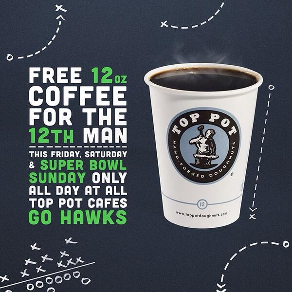 Come in for a FREE 12 oz drip or 8oz Hot Chocolate on us through Sunday!  We love the #12thman @Seahawks http://t.co/6bEDLHSQ3j