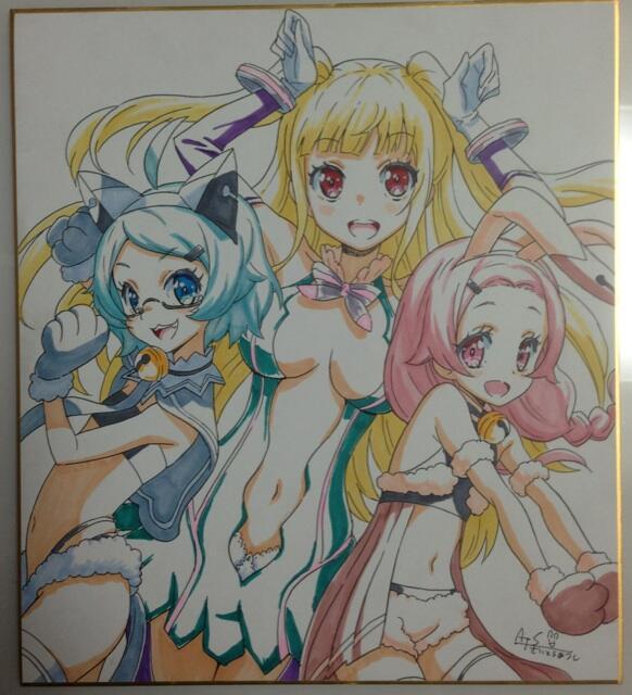 本日の萌えスロナイトプレゼント用に色紙描きました! http://t.co/VRmZndN25S