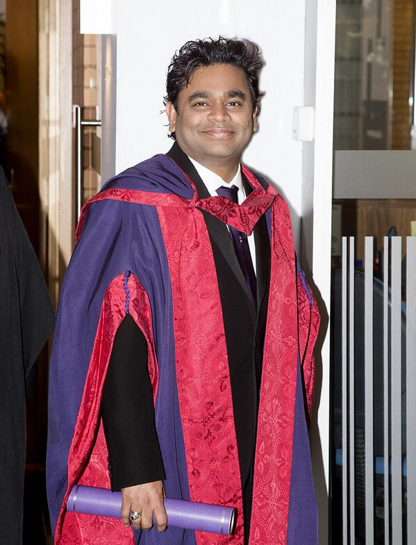 Congratulations to @arrahman on receipt of his honorary doctorate of music. http://t.co/93pe1DpU4X