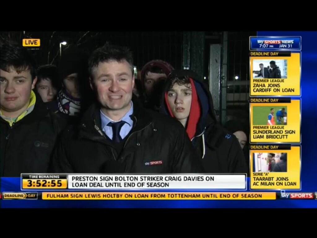 Sky reporter looks as if hes about to be set upon by feral hooded youth at Stoke