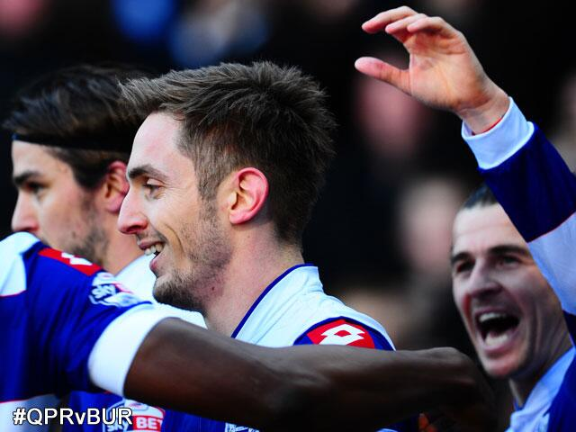 Kevin Doyle celebrates his debut QPR goal with Joey Barton