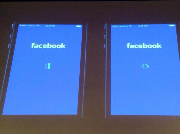 Facebook A/B tested loading indicators and found that users blamed FB (left) & iOS (right) for slowness. Via @deeje http://t.co/COquQKP1zF