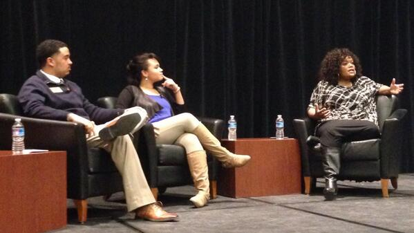 Alumna @yvettenbrown talks to a full house about her experiences & offers great advice to students. http://t.co/aXdN8I1EKP