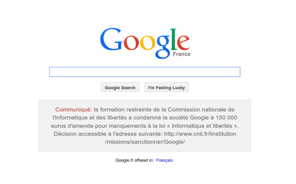 هكذا تبدو صفحة غوغل اليوم للزوّار الفرنسيين