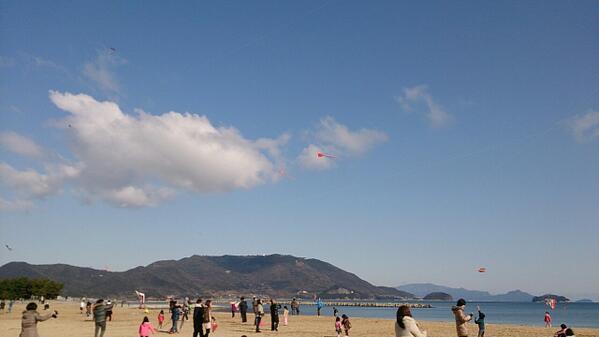 津田の松原で凧揚げ大会やっりょります(^o^) http://t.co/Vh3KAspyhs
