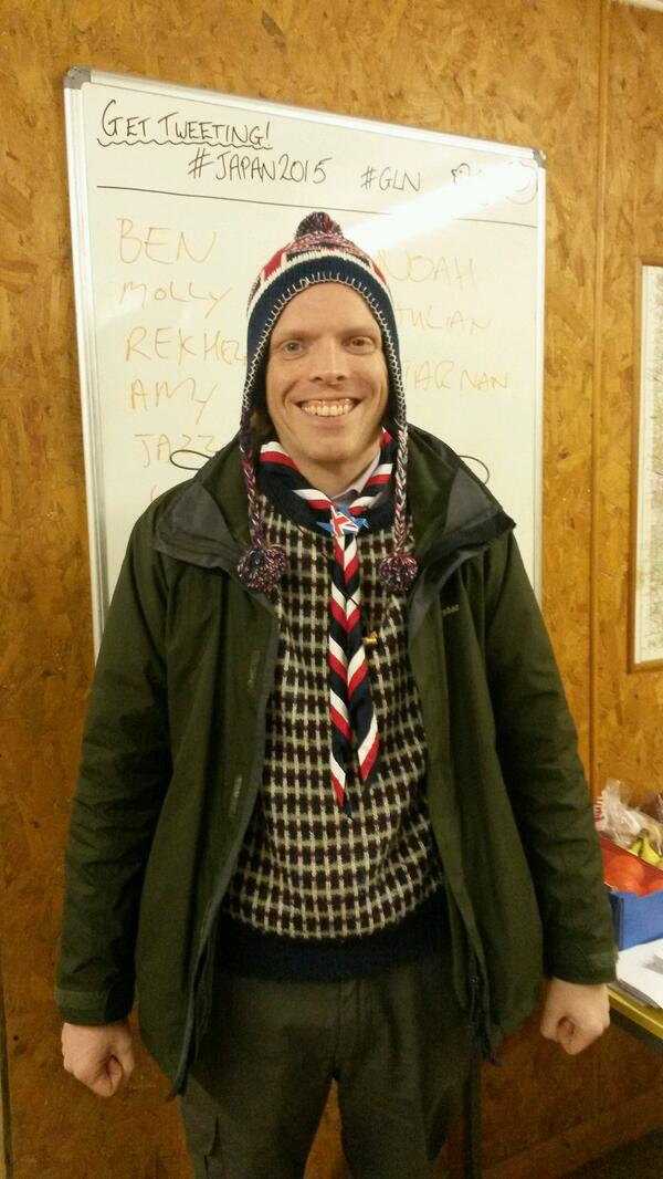 #gln unit leader modelling the sorting hat as we start to sort our unit into patrols ready for #Japan2015 http://t.co/YpgpVbWJAX