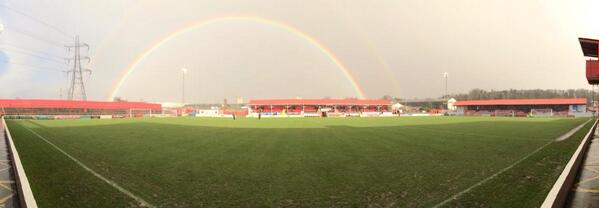 @bbc606 Double rainbow over Stonebridge Road this afternoon! Ebbsfleet v Weston-super-mare. Finished 1-1. http://t.co/A88dyjZfG6