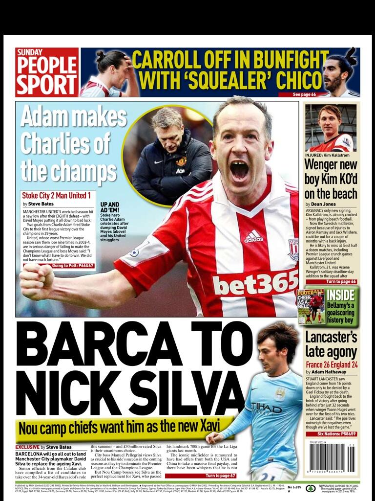 Barcelona want £50m rated David Silva from Manchester City to replace Xavi [Sunday People]