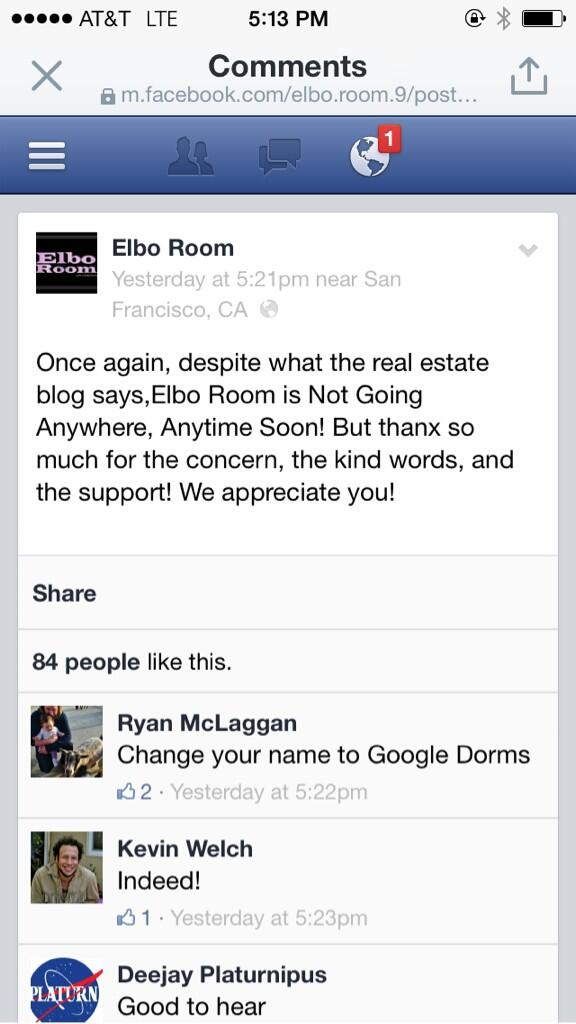 . @burritojustice from the Elbo Room on the rumors of their demise http://t.co/dafJ8pTglJ