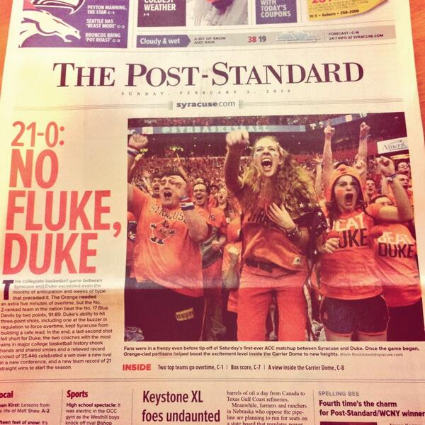 Amazing! RT @deafgeoff: Front page of today's @PostStandard: At 21-0, the new No. 1 team is no fluke, Duke http://t.co/fMUt5GXcZ2