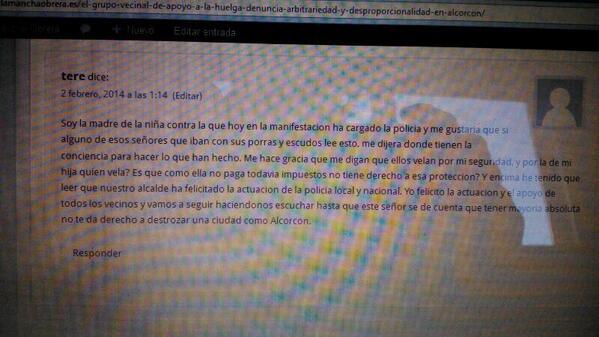 Ayer la policía golpeó en Alcorcon a una niña de 5 años. Hoy su madre escribe ésto http://t.co/NJvAaEOV9a #Quesevayan #EfectoAlcorcon