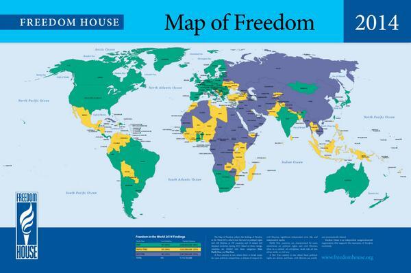 خريطة الحريات في العالم 2014 الأخضر: دول حرة. الأصفر: دول حرة جزئيا. أزرق: دول غير حرة. http://t.co/2z4K4QdWJh