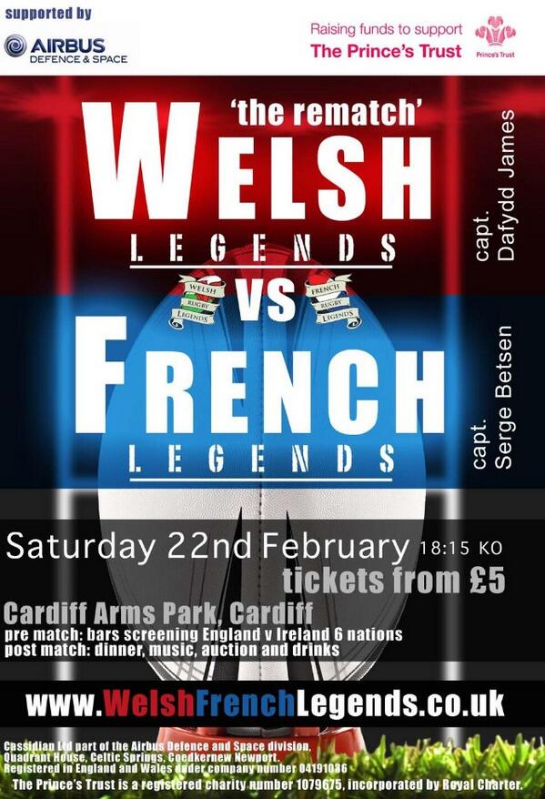 Excited to play in @WFLegends Game at the Cardiff Arms Park with @DafyddJames13 in Feb for @PrincesTrust charity! http://t.co/3FpIyiaEBM
