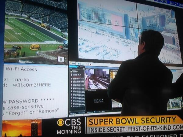 Super Bowl security headquarters accidentally shows their wifi username and password on national television http://t.co/Kk2CTg5Pve