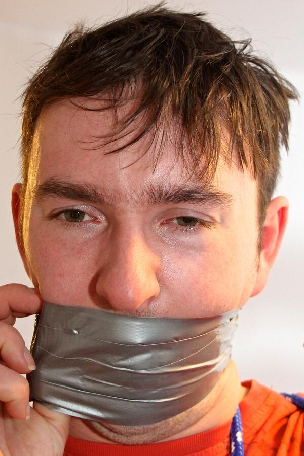 Bondage duct face picture taped
