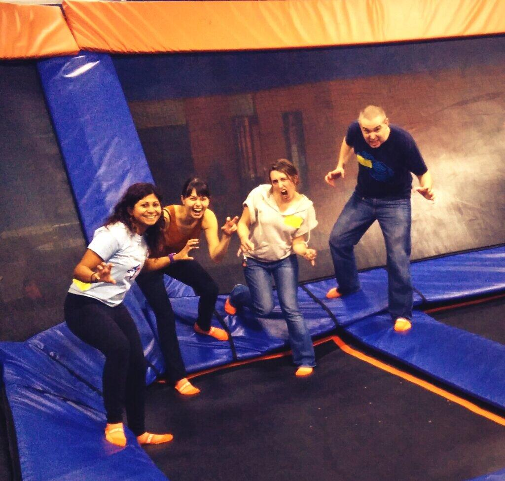Dodgeball on trampolines