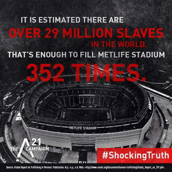 It is estimated there are over 29 million slaves in the world. That's enough to fill MetLife Stadium 352 times.#SB48 http://t.co/1VMN8hbBNw