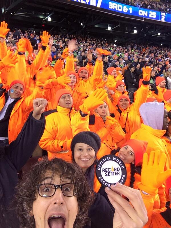 At the #SuperBowl, just officiated a @RecordSetter World Record for Largest Human @Doritos Chip! 30 people! http://t.co/CETQZxZfbn