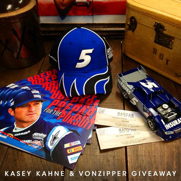 GIVEAWAY TIME - Retweet and follow for a shot at 2 @NASCARHall tix, @kaseykahne signed hat and photo and VZ shades!! http://t.co/SpVST9Nfi8