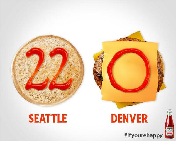"""A pic tells how many words ? RT @HeinzKetchup_US: .@Broncos Time to play ketchup #SB48 #Halftime http://t.co/CKz9Npiwif"""""""