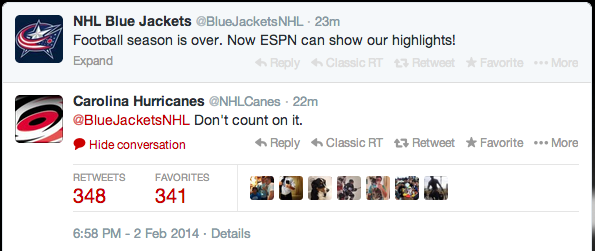 I think the NHL was +2500 to be the Super Bowl social media winners: http://t.co/B6BtK4TaT3