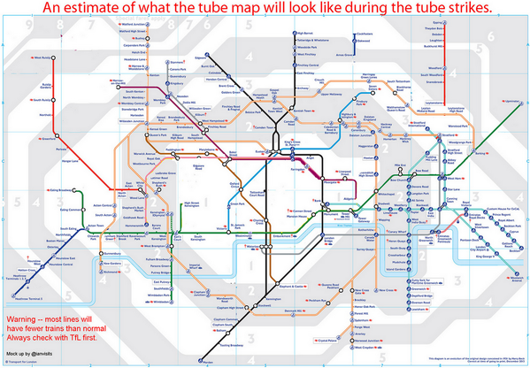 An estimate of what the tube map will look like during this week's #UndergroundStrike: http://t.co/dbMyIo7kP5 http://t.co/wHNCaYiliz