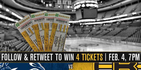Retweet for the chance to win 4 tickets to see the #NHLBruins face off against the #Canucks tomorrow @TDGarden http://t.co/R3YFIYMadO