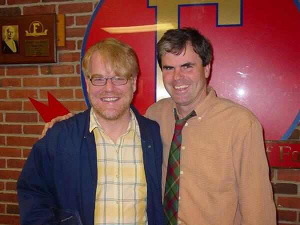 Philip Seymour Hoffman with English teacher John Baynes after induction into Fairport HS (my alma mater) Wall of Fame http://t.co/sHe2tlsGNy