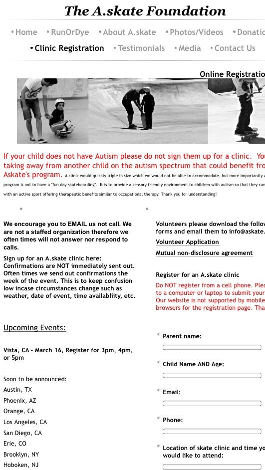 #VISTA Ca. Clinic Registration is Now Open!!! #askate #autism #skateboarding #sandiego @auratrainingfacility http://t.co/CmE8w7v3Qi