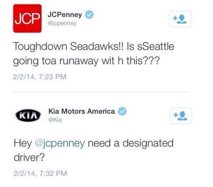 I <3 it when brands poke fun at each other via twitter! Sorry @jcpenney Thumbs up to you @Kia for having their back http://t.co/BePY0EZx7j