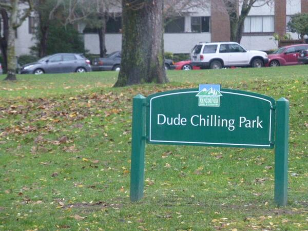 "It's official, Guelph Park has some new public art! ""Dude Chilling Park"" sign just approved by @ParkBoard http://t.co/zuIN5dEORN"