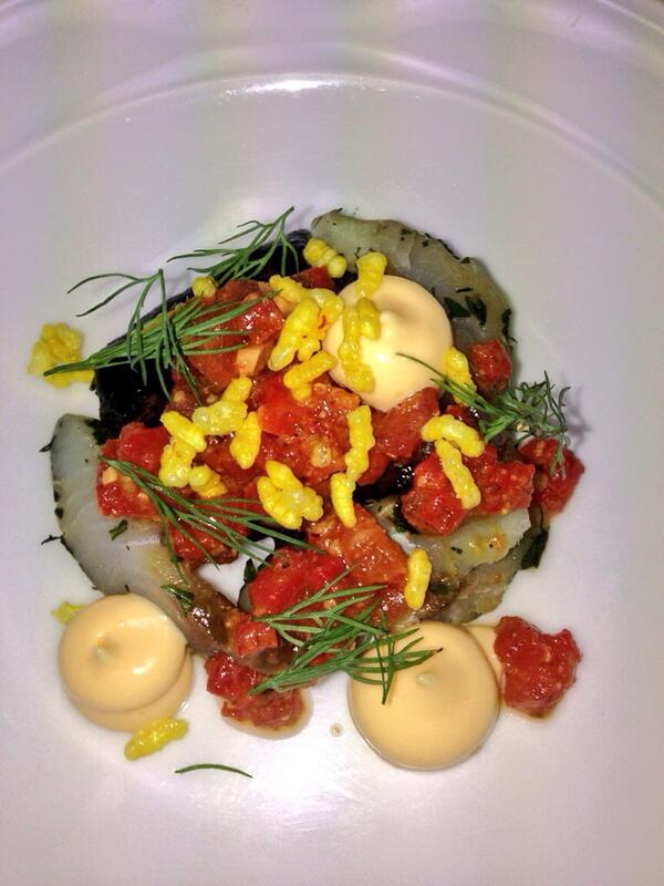 """Yummy! """"@FoveauxRedDoor: Black chicken, cured kingfish, romesco sauce, smoked mayonnaise and saffron puffed rice http://t.co/9scS1K3hhd"""""""