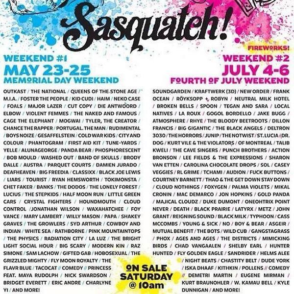 Sasquatch Festival line-up ft. Outkast, Frank Ocean, Casey Veggies, Kid Cudi, Tyler The Creator & more. http://t.co/qWEZhHxUGo