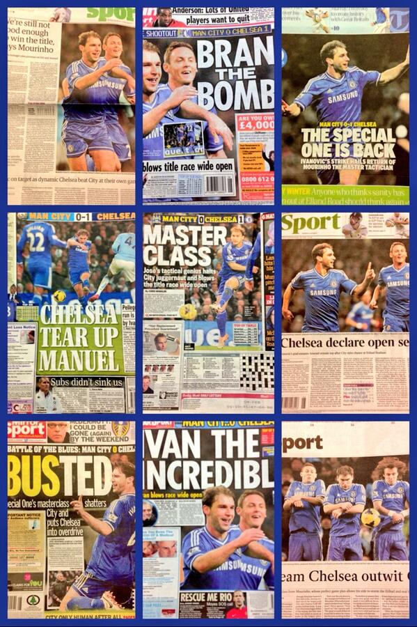 Masterclass. Today's backpages. #CFC morning @chelseafc fans http://t.co/mmyBM7gBne