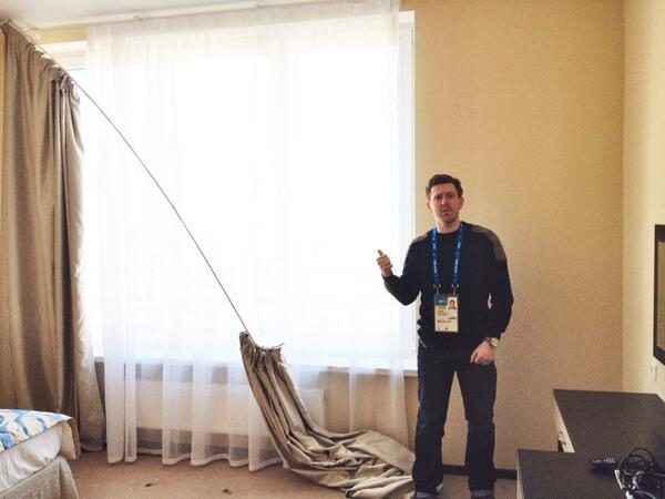 This is the one hotel room @Sochi2014 have given us so far. Shambles. #cnnsochi http://t.co/RTjEkmyan3