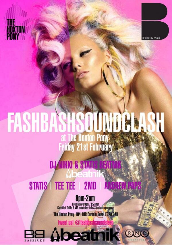 @fashbashsound is back 21.2.14 with DJs: me @statisbeatnik @afropopgirl @AndrewPaps @justTeeTee @TheHoxtonPony http://t.co/D9CdZvgu7D