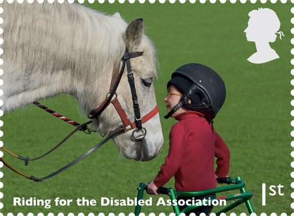 Delighted to see new stamp showing important work of Riding for the Disabled. #workinghorsesstamps http://t.co/1DoHsiu3co