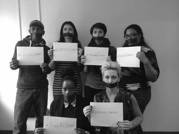 Journalism is not terrorism. NY @AJFaultLines team stands with our #Egypt colleagues. #FreeAJStaff http://t.co/MBgXBRwbAD